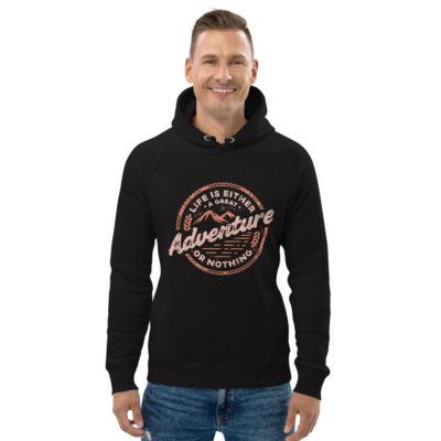 unisex eco hoodie black front 602fd4c2ec39a