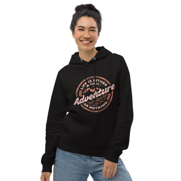unisex eco hoodie black front 602fd4c2ec95a