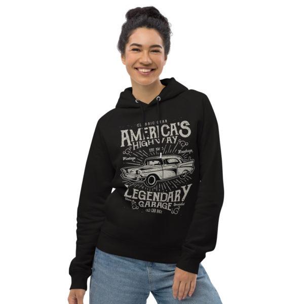 unisex eco hoodie black front 6065da96efa5a