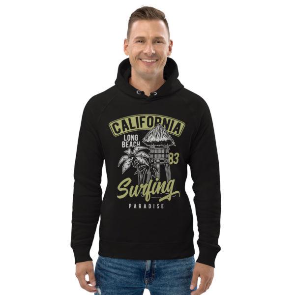 unisex eco hoodie black front 609a38b4dd1bc