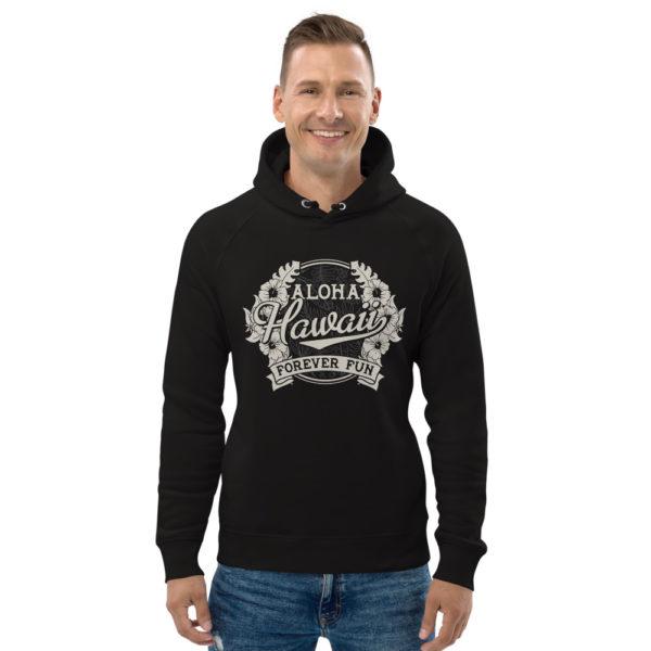 unisex eco hoodie black front 609a3d9db2985