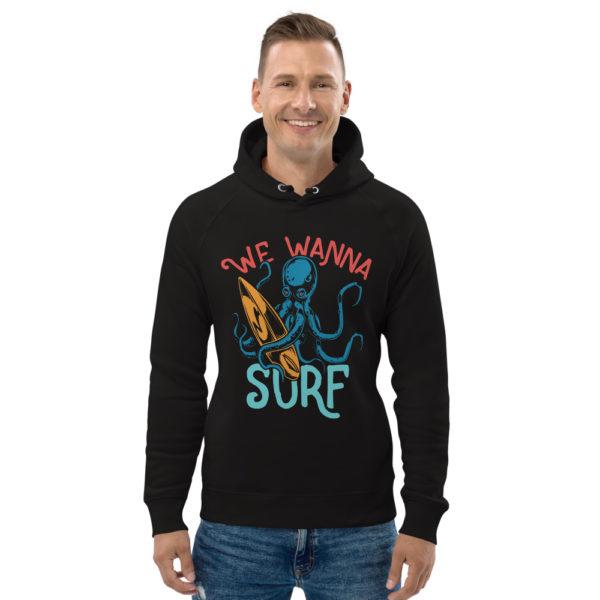 unisex eco hoodie black front 609a3e7eb4b45