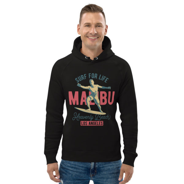 unisex eco hoodie black front 609a3f5fd7cae