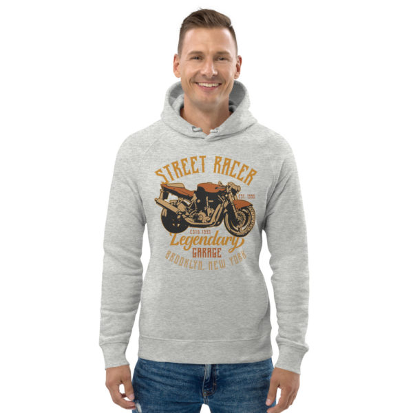 unisex eco hoodie heather grey front 6093c2a794965