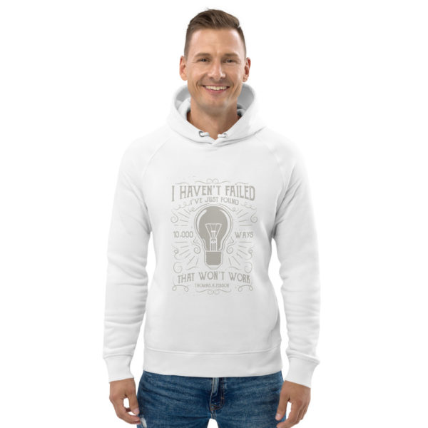 unisex eco hoodie white front 602fd6a309ec5