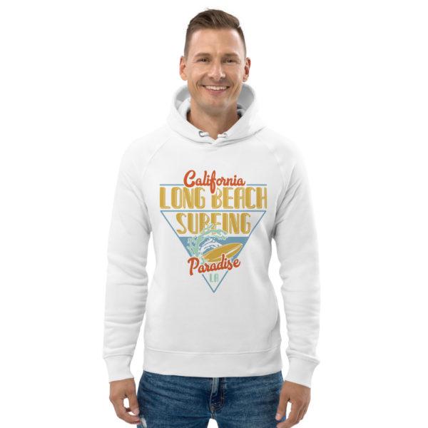 unisex eco hoodie white front 609a395945de6