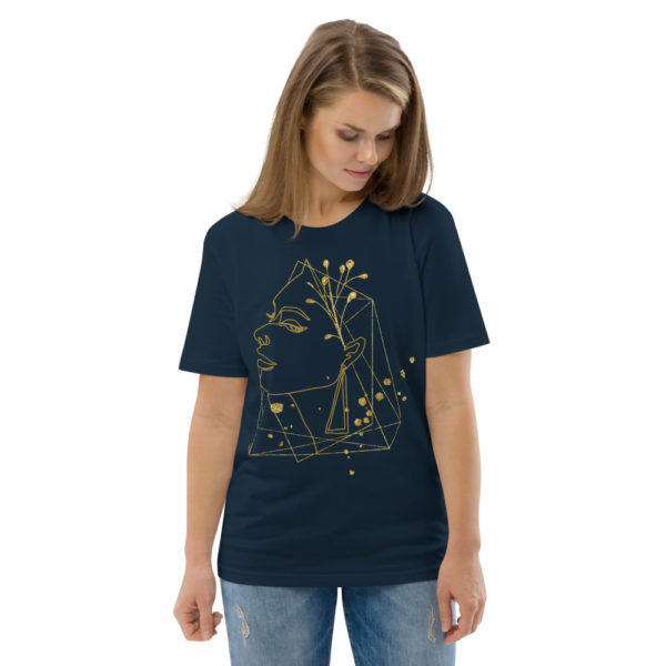 unisex organic cotton t shirt french navy front 2 6144a7374e8cd