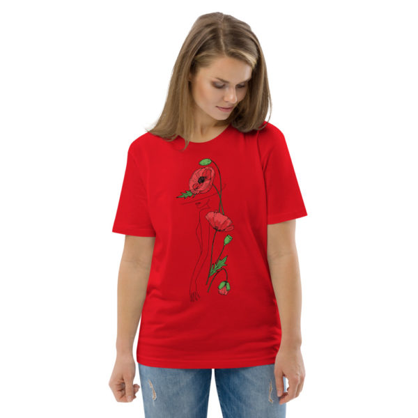 unisex organic cotton t shirt red front 2 6144a2fac26b5