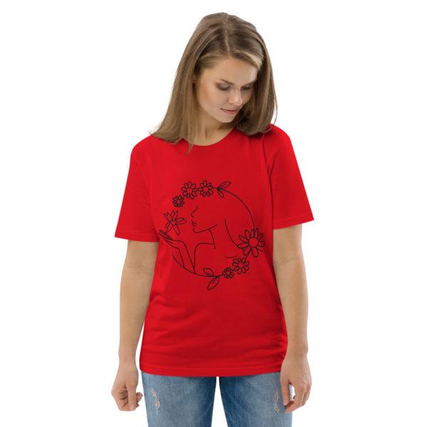 unisex organic cotton t shirt red front 2 6144a43d26300