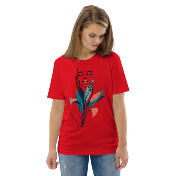 unisex organic cotton t shirt red front 2 6144a9057f139
