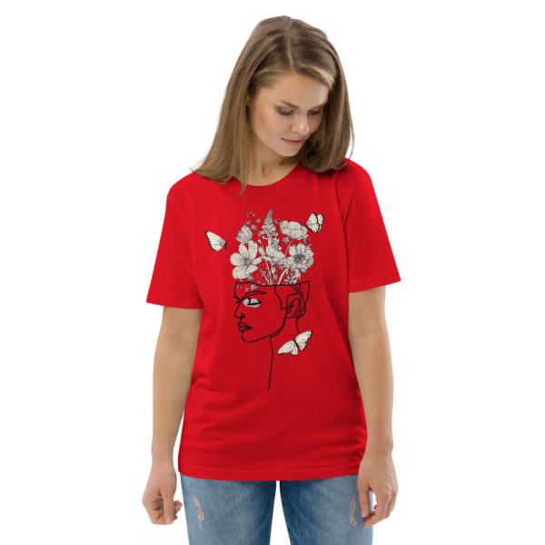 unisex organic cotton t shirt red front 2 614dd0fd5babe
