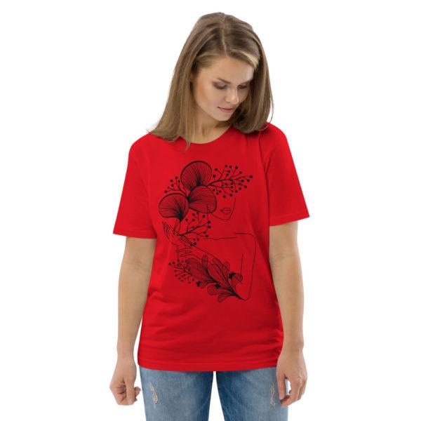 unisex organic cotton t shirt red front 2 614dd21846b8b