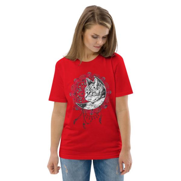 unisex organic cotton t shirt red front 2 614dd263ce8b4