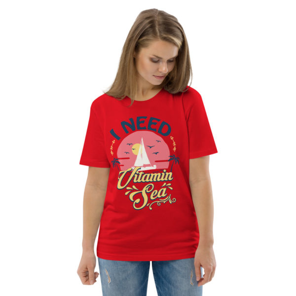 unisex organic cotton t shirt red front 2 614dd3fb2d094