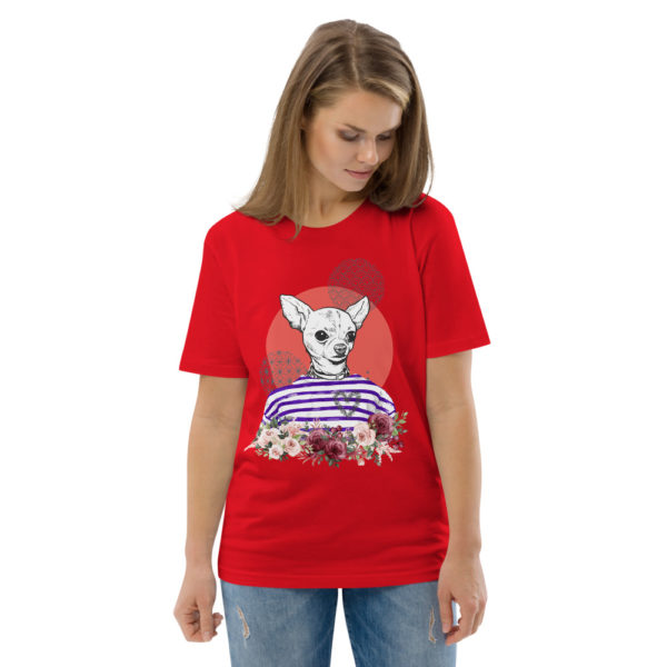 unisex organic cotton t shirt red front 2 614dd5d11ba25