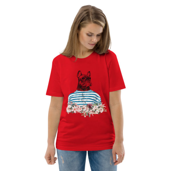 unisex organic cotton t shirt red front 2 614dd6f4a6705