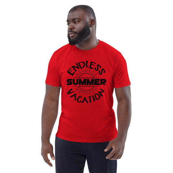 unisex organic cotton t shirt red front 6144a35763ed3