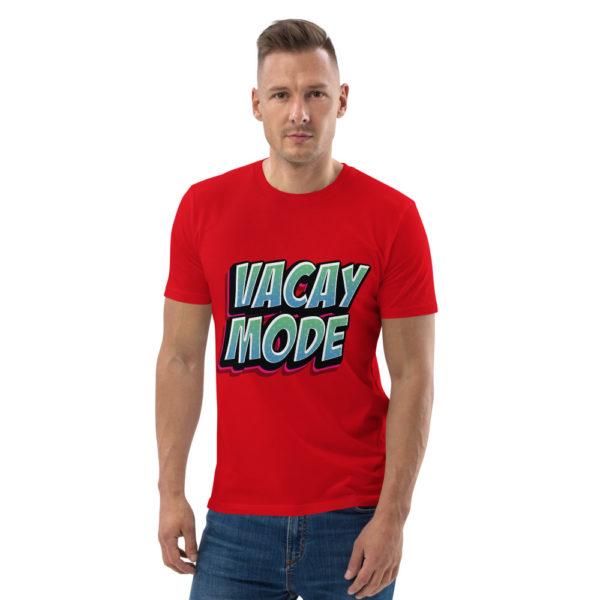 unisex organic cotton t shirt red front 6144a4bd724c9