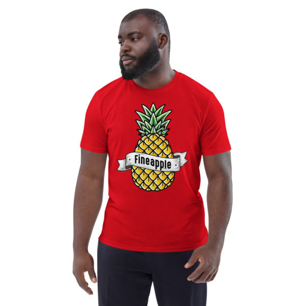 unisex organic cotton t shirt red front 6144a5024885c