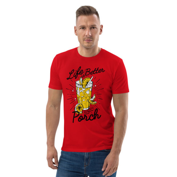 unisex organic cotton t shirt red front 6144a5f7347dd