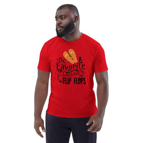unisex organic cotton t shirt red front 6144a898950da