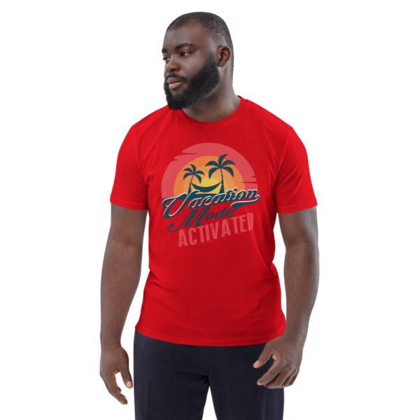 unisex organic cotton t shirt red front 614dd177809c6