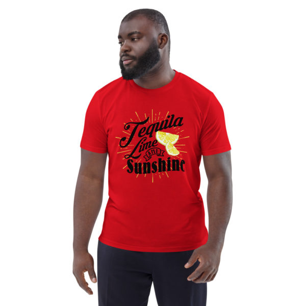 unisex organic cotton t shirt red front 614dd3ada24e9