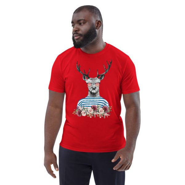 unisex organic cotton t shirt red front 614dd69898e73