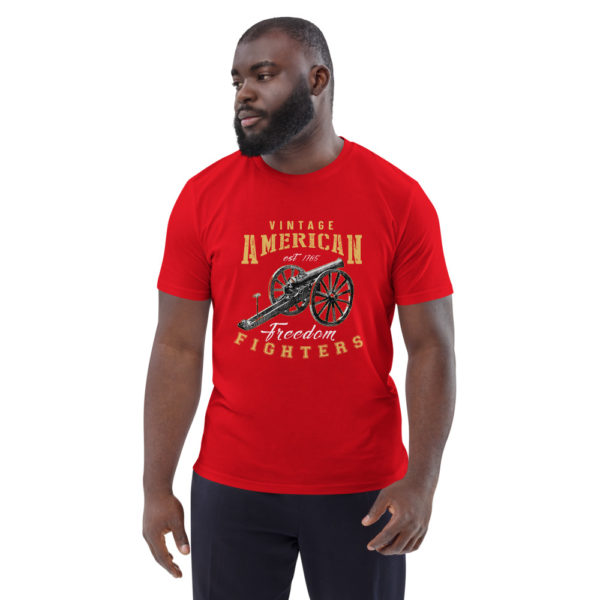unisex organic cotton t shirt red front 614dd8ba625bd
