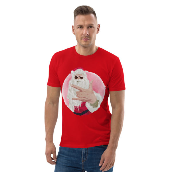 unisex organic cotton t shirt red front 614dda55e0db3